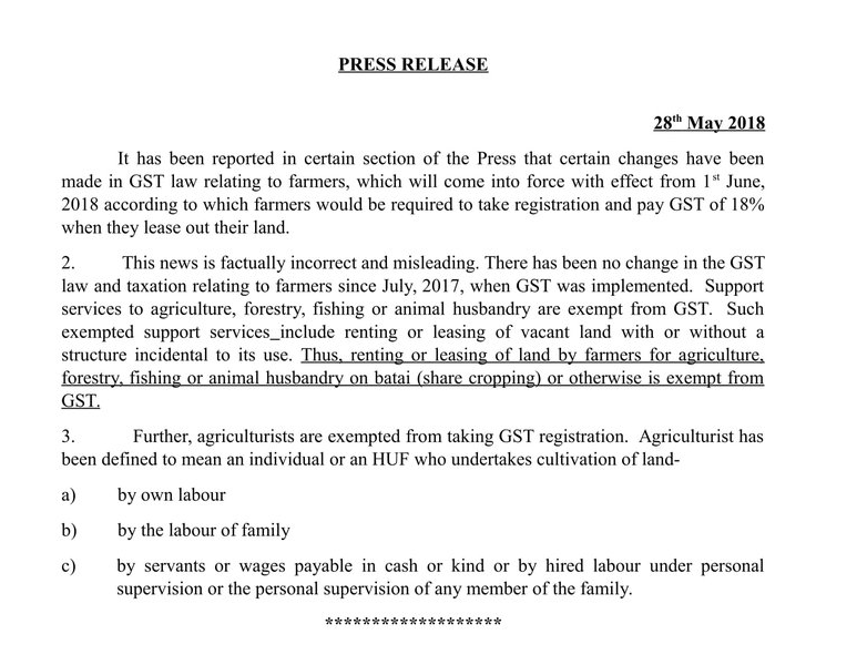 No change in the GST law and taxation relating to farmers since July 2017
